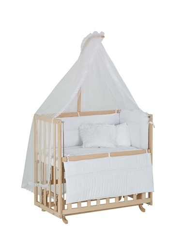 Babycom Naturel Ahşap Boyasız Anne Yanı Beşik 50 X 90 Kademeli Beşik + Kahve Zikzak Uyku Seti Beyaz